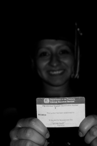 Rosario holding her ITIN card