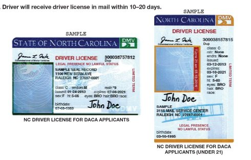 "NCDOT announced today DACA licenses will no longer have a pink stripe, will keep ""No Lawful Status"""