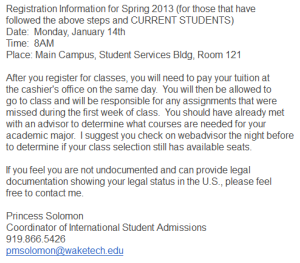 Wake Tech email 2